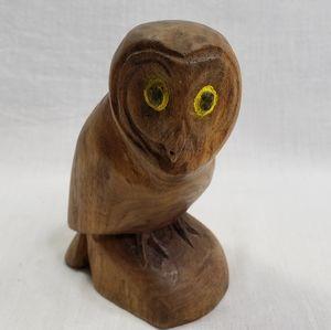 Vintage Owl Hand Carved Walnut Wood